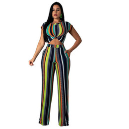 $enCountryForm.capitalKeyWord UK - Striped Print Plus Size Two Piece Outfits Clothes For Women O Neck Short Sleeve Crop Top And Wide Leg Pant Summer Tracksuit Suit N19.7-2279