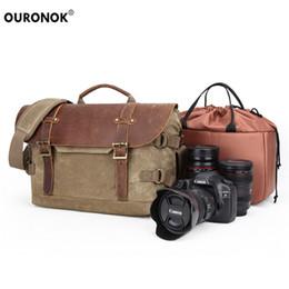 Dslr Slr Camera Australia - SLR DSLR Lens Camera Bag Carry Case Vintage Waterproof Batik Canvas Massenger Bag Shoulder Case Bags For Nikon Canon Sony