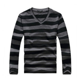 black red sweater stripe Canada - Mens Sweaters New Arrival Mens Long-sleeved Cotton Stripes Sweater Fashion and Hot Pullover Men Sweaters Asian Size