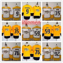 7d85c1971 76 PK Subban 59 Roman Josi 9 Filip Forsberg 35 Pekka Rinne 92 Ryan Johansen  Women s Nashville Predators hockey Jerseys Stitched Logos