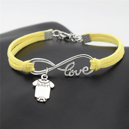 $enCountryForm.capitalKeyWord Australia - Couples Infinity Love Cute Baby Short Sleeve Clothes T-shirt Romper Pendant Charm Bracelets Yellow Leather Suede Rope Woman Men Jewelry Gift