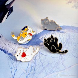 Wholesale Christmas Gifts For Kids Australia - Cute Enamel Cat Brooch Pins Lapel Pins Badge Fashion Jewelry for Women Men Kids Christmas Gift Will and Sandy Drop Ship 370066