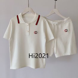 high end drawstrings NZ - high end women girl casual polo shirt suit letter embroidery spliced blouse tops same drawstring shorts 2020 fashion luxury design loose set