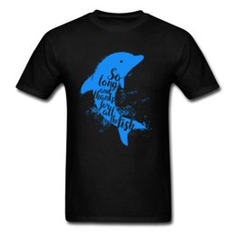 blue cotton men Australia - Blue Thankful Dolphin Normal Top T-shirts Men All Cotton Ostern Day Tops & Tees Slim Fit Tshirts Short Sleeve Latest Crew Neck