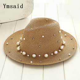 Ymsaid 2018 New Summer British pearl beading flat brimmed straw hat Shading sun  hat Lady beach hat C18122501 3dce6205e83d