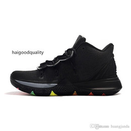 pearl shoes boots UK - Mens kyrie 5 basketball shoes Black Multi Easters BHM Neon Yellow Pink Aunt Pearl lebron 16 kyries irving sports boots with box size 7 12