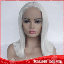 Discount bobs parts - Free Shipping New Cosplay White Short Bob Wigs Middle Part Glueless Synthetic Lace Front Wigs Heat Resistant Fiber Strai