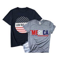 $enCountryForm.capitalKeyWord Australia - Women Designer Printed T-Shirts American Flag Independence National Day USA 4th July Star Stripe Letter Printing Plus Size Women Clothing