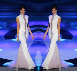 $enCountryForm.capitalKeyWord Australia - 2019 Miss Universe Pageant Evening Dresses White High Neck Bling Crystals Cap Sleeve Tulle Mermaid Celebrity Formal Prom Dresses