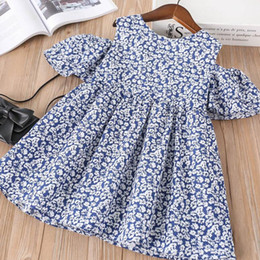 $enCountryForm.capitalKeyWord Australia - Girl Clothing Flower Princess Dress Baby Girl Floral Off Shoulder Kids Short Sleeve Top Blue and White Color 5 P L