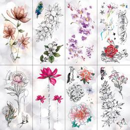 1d778073d Lotus Peony Rose Flowers Waterproof Temporary Tattoo Sticker Minimalist  Flash Tattoos Body Art Fake Arm tatoo Women