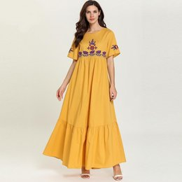 $enCountryForm.capitalKeyWord Australia - 7737 Women Long Muslim Dress Embroidery Yellow Summer Abaya Femme Dubai Turkish Turkey Bangladesh Kaftan Plus Size Islamic Clothing