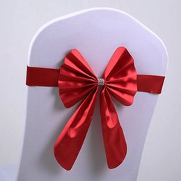 $enCountryForm.capitalKeyWord Australia - Chair Cover Decor Wedding Party Bow Buckle Band Wedding Stretch Sashes Banquet Free Shipping