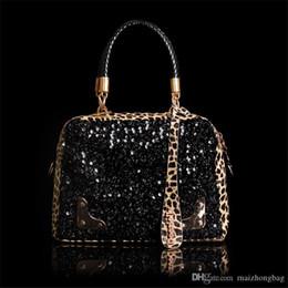 Glitter Pom NZ - Fashion Nice Euramerican Sequins Shimmer Glitter Leopard Print Single Shoulder Bag Designer Handbag Brand Bag