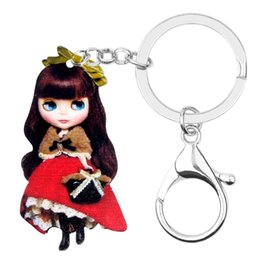 doll keychains for girls NZ - Sweet Russian Long Wavy Hair Doll Key Chains Keychain Keyring Fashion Jewelry For Women Girls Teens Accessories