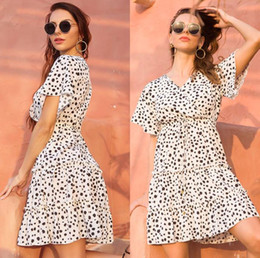 leopard print lining Australia - Hot Style Fashion Casual Dress Chiffon Foral Print Short Sleeve V Neck A Line Women Skirt Sexy Summer Sweet Retro Leisure Dresses