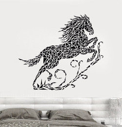 Large Horse Art Australia - Abstract Vinyl Wall Decal Bedroom Geometric Running Horse PVC Wall Sticker Home Decoration Living Animal Art Decor Stickers