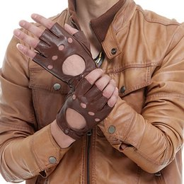$enCountryForm.capitalKeyWord Australia - Men Fingerless Black Brown Gloves Winter Spring Leather Gloves Driving Sheepskin