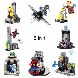 building blocks base Australia - 8 in 1 Marvel Stark Industries Tower Super Hero Building Blocks Toy The Avengers Headquarters Base Mini Action Figure