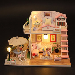 Block Month Australia - Christmas Gifts Miniature Diy Puzzle Toy Doll House Model Wooden Furniture Building Blocks Toys Birthday Gifts Pink Loft Villa J190508