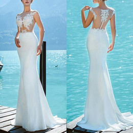 $enCountryForm.capitalKeyWord NZ - Delicate Jewel Neck See Through Mermaid Wedding Dress robe de mariée Sexy Sleeveless Long Beach Bridal Gown With Beaded Lace Appliques