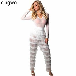 64ba07712e sexy jumpsuits wear night out 2019 - White Sheer Mesh Top Fringe Jumpsuit  Hot Sexy Woman