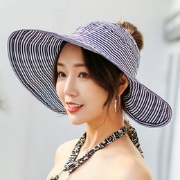 ba37e37d Summer Wide Brim Sun Hat Woman Spring Summer New Sunshade Female Korean  Version Hats Striped Big Brim Outdoor Sunscreen Cap