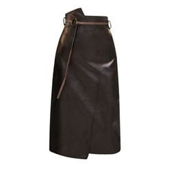 $enCountryForm.capitalKeyWord UK - Pengpious Sexy Women Wrap Hip Pu Skirt Women High Waist Irregular Cut Women Faux Leather Skirt Knee Length With Belt Y19043002