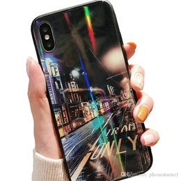 $enCountryForm.capitalKeyWord Australia - Dazzling Colorful Tempered Glass Mobile Phone Shell Rainbow Cell Phone Cases Starry Sky for iPhone XS MAX XR 6 7 8 Plus Landscape Image