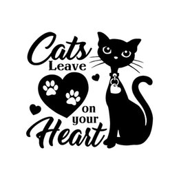 PurPle wall art stickers online shopping - 15 cm Cats Leave Paw Prints On Your Heart Art decor Car Vinyl Wall Sticker Cute And Interesting Fashion Sticker Decals