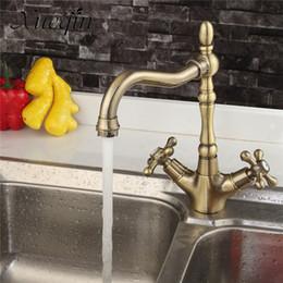 Single handle kitchen Sink faucetS online shopping - Xueqin Antique Bronze Copper Bathroom Double Handle Kitchen Basin Water Faucet Rotation Tap Sink Washbasin Spout Mixer Taps