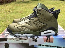 Boxing Jacket Australia - New With Box 6 Flight Jacket Saturday Night Live Army Green men basketball shoes sports sneakers VI trainers size 8-13