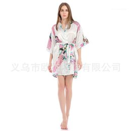 robe sexy v Canada - Peacock Floral Printed Summer Womens Robe Sexy V Neck 1 2 Sleeve Knee Length Belt Loose Sleepwear Womens Designer Pyjamas