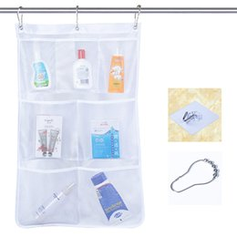 clear shoe box organizers UK - New Portable Bathroom Organizer Tub Shower Hanging Mesh Organizer Storage Bag