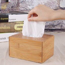 bamboo napkin holder NZ - Bamboo Handkerchiefs Box Natural Wood Tissue Case for Home Office Desktop Bathroom Car Room Baby Wipes Napkin Holder
