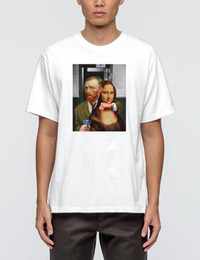 Mona Lisa Art Australia - Hahayule HJN Van Gogh Kidnapping Mona Lisa Pop Art Comic T-Shirt Mona Lisa Van Gogh Car Smoking Top Street Style Funny Tee