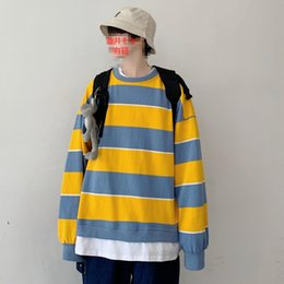 False collar cotton online shopping - 2019 Men s Stripe Printing Pullover False Two Piece Hoodies Loose Coats Cotton Clothes Casual Round Collar Sweatshirts M XL