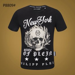 574c8e281 2019 new hot men and women models summer two-color round neck cotton skull  handwritten letter printing fashion couple short-sleeved t-shirt