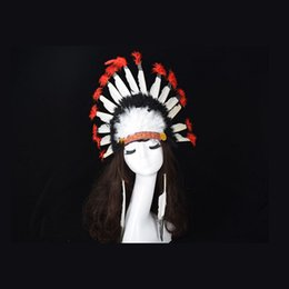 Red Indian Costumes Australia - Indian Feather Headdress Handmade Red And Black Feather Costumes Handmade Indian Headdress War Bonnet Hat Costumes