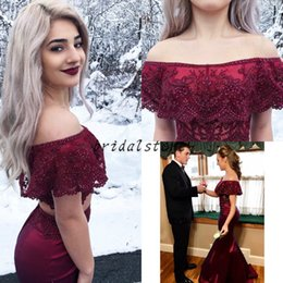 $enCountryForm.capitalKeyWord Canada - 2 piece prom dresses with cape crop top sexy off shoulder Elastic Satin Mermaid Evening Gowns Beaded Lace Formal Party graduate For Teen