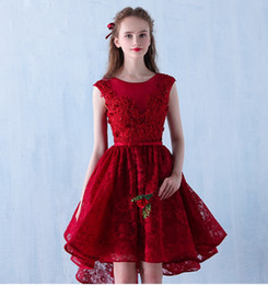 cheap red one shoulder dress Canada - High Low Sexy Dark Red Lace Prom Dresses 2020 Scoop Tulle Beaded Flowers Cheap Evening Formal Party Gown New robe de soriee