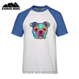 Wholesale Pit bull head paint Colorful Dog Cute Cartoon Boys Girls T shirt Comfortable pure cotton Breathable T shirt Men Short Sleeve Tee