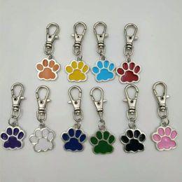 TibeTan charms caTs online shopping - ashion Jewelry Key Chains Enamel cats dog paw prints Keychain Fashion jewelry Tibetan silver charm Tennis pendant key chain ring Keycha