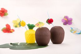 Flower shape cups online shopping - Pineapple Coconut Cups Fruit Shape Juice Party Drinking Cups with Flower Straws for Hawaiian Luau Summer Beach Party EEA149