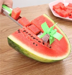cantaloupe slicer UK - Watermelon Slicer Cutter Stainless Steel Novel Windmill Watermelon Slicer Cantaloupe Pineapple Fruit Vegetable Cutter Tools Kitchen Gadgets