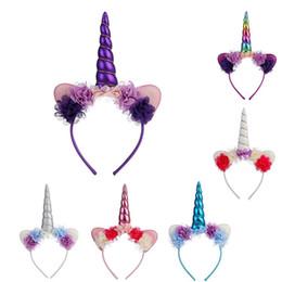Hair Horns UK - Lace Flower Unicorn Barrettes Cute Sequins Unicorn Horn Head Party Kids Girls Hair Headband Fancy Dress Cosplay Decoration Unicorn Hair Bows