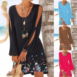 Women beach designer dresses online shopping - Fashion Twill Women Casual O Neck Hollow Out Sleeve Print Dress Summer Beach Style Mini New Dress Women Mar1 Designer Clothes