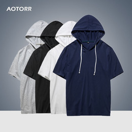 short sleeve hoodie blue men Australia - Hoodie Mens 2020 Summer Casual Streetwear Short Sleeves Shirts Basketball Sports New Hip Hop Track Tops Hoody Men's Sweatshirts Y200601