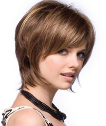 """Discount afro hair wigs for african woman - 10"""" Fashion Hair Wigs Afro Short Hair Cuts Bob Wig Fluffy Fashion Mix With Bangs Straight Synthetic African America"""