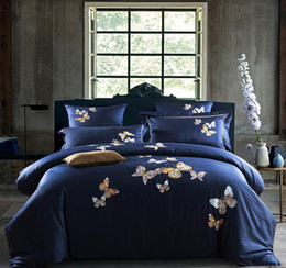 Butterfly sheet set queen size online shopping - Butterfly Embroidery Royal Bedding set King Queen Size Egyptian Cotton Bed set Duvet cover bed sheet Pillowcases Home Decorative